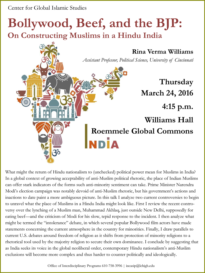 Lehigh University - Global Center for Islamic Studies - Bollywood, Beef, and the BJP - Rina Verma Williams