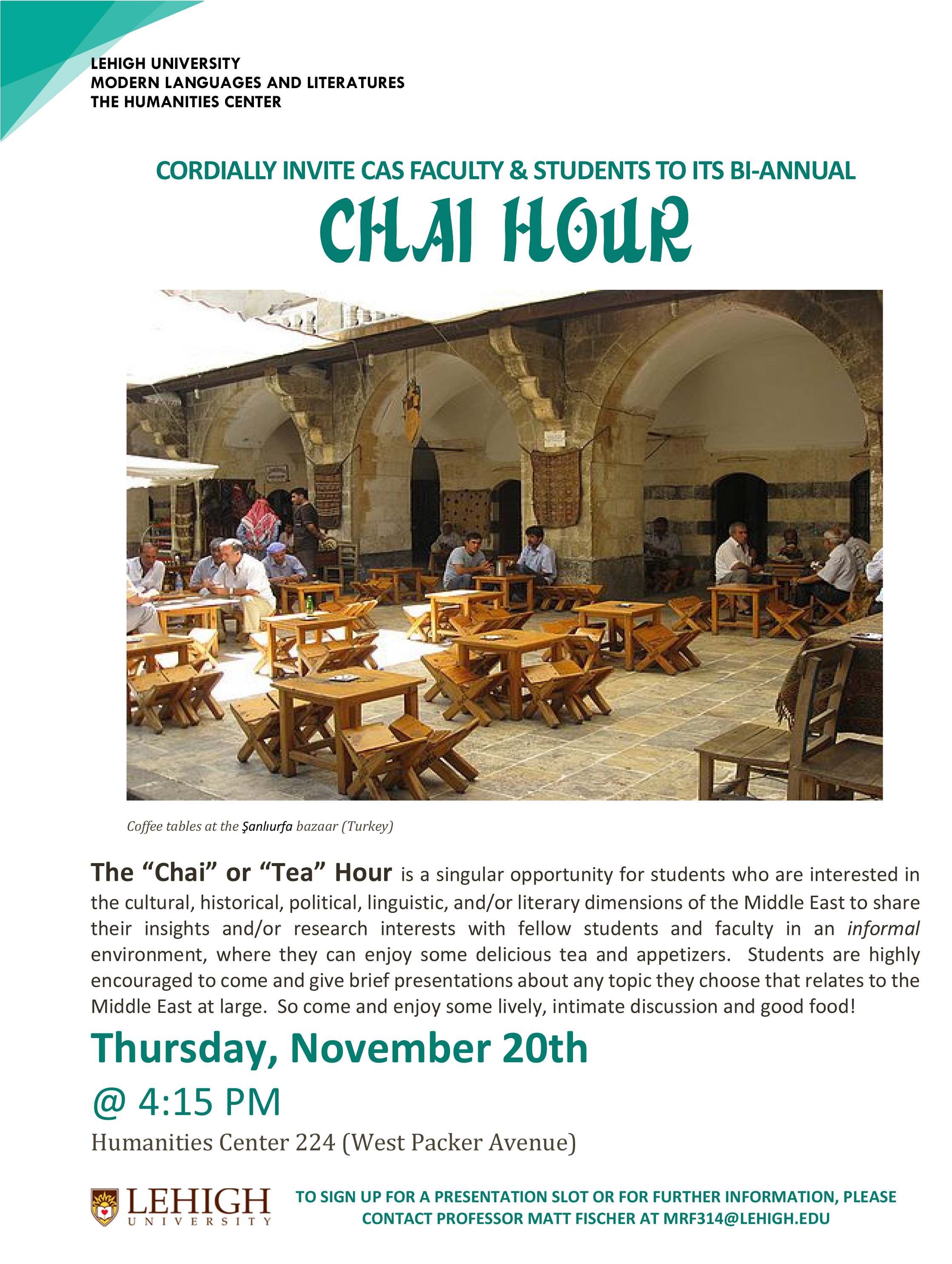 Lehigh University - Modern Languages and Literature - Chai Hour Event Flier