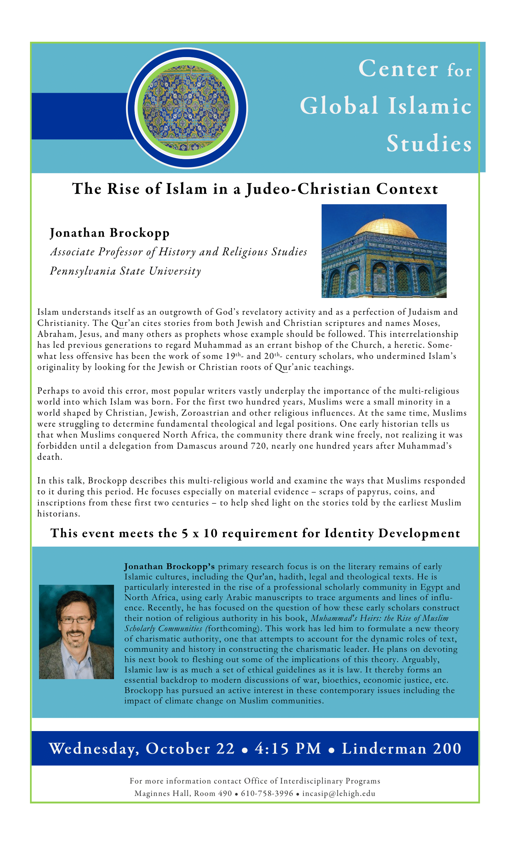 Lehigh University - Global Center for Islamic Studies - The Rise of Islam in a Judeo-Christian Context - Jonathan Brockhopper