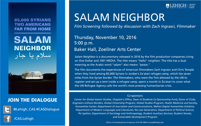 "Lehigh University - Global Center for Islamic Studies - ""Salam Neighbor"" Documentary screening and discussion flier"