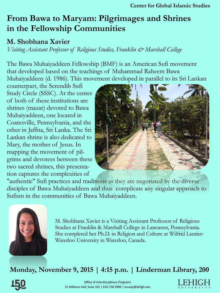 Lehigh University - Global Center for Islamic Studies - Bawa Muhaiyaddeen Fellowship - M. Shobhana Xavier