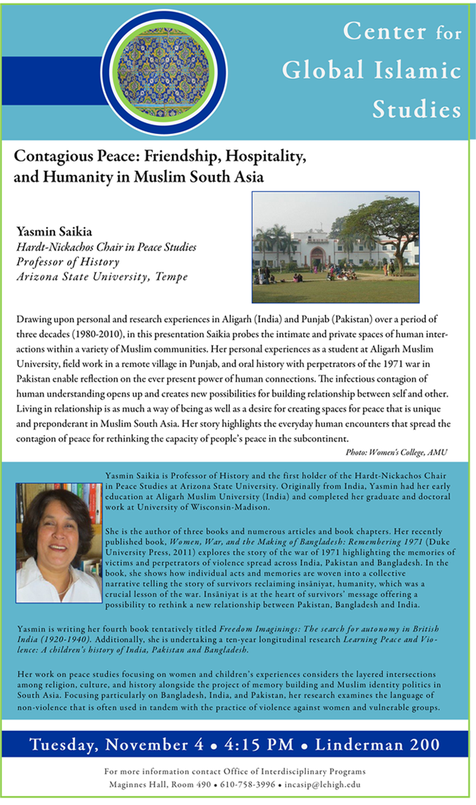 Lehigh University - Global Center for Islamic Studies - Contagious Peace - Yasmin Saikia
