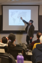 Peter Tinti uses a world map to explain the impact of criminal entrepreneurs on the modern world
