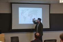 Peter Tinti presents his powerpoint on criminal entrepreneurs