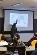 Peter Tinti giving a talk about criminal entrepreneurs