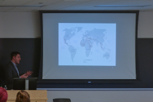 Peter Tinti gives a lecture about migrant smugglers and criminal entrepreneurs reshaping the modern world