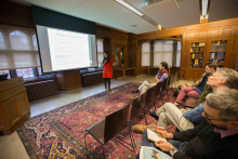 """Students and faculty of Lehigh University listen to M. Shobhana's presentation """"From Bawa to Maryam: Pilgrimages and Shrines in the Fellowship Communities"""""""