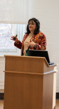 Rina Verma Williams speaking at her presentation on Bollywood, Beef and the BJP - Lehigh Univerisity