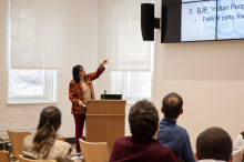 Rina Verma Williams present to students and faculty of Lehigh University about Bollywood, Beef and the BJP