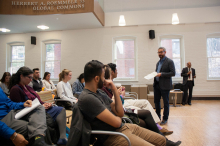 """Robert Rozehnal speaking to the audience at Dr. Mujibur Rehman's presentation """"Global Jihad: Why has it not appealed to Indian Muslims as yet?"""" - Lehigh University"""