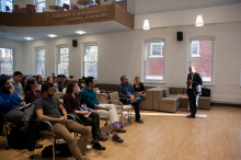 Dr. Mujibur Rehman speaks in front of a crowd of students and faculty of Lehigh University about Global Jihad
