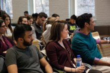 Students and faculty of Lehigh University listen to Dr. Mujibur Rehman's presentation about Global Jihad