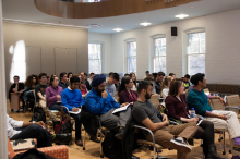 Students and faculty of Lehigh University attend Dr. Mujibur Rehman's lecture on the lack of appeal Global Jihad has on Indian Muslims