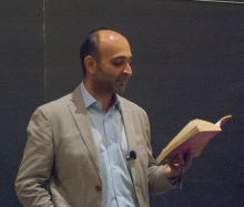 Mohsin Hamid reading a passage from one of his books as he speaks about Globalism - Lehigh University
