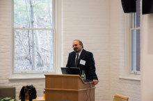 Dr. Omid Safi giving his presentation on using Adab as a model for Muslim refinement - Lehigh University