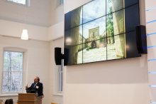 Dr. Omid Safi speaking at his presentation on Adab as a model for Muslim refinement - Lehigh University