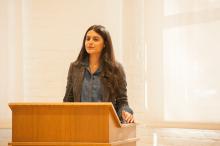 Roya Naderi presenting about Turkish refugee support - Lehigh University