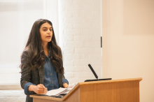 Roya Naderi speaking about providing humanitarian support for refugees in Turkey - Lehigh University