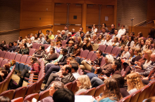 Students and faculty of Lehigh University view the film Salam Neighbor at an event co-sponsored by the Center for Global Islamic Studies