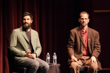 Zach Ingrasci and Bruce Whitehouse lead a discussion following the screening of the film Salam Neighbor at Zoellner Arts Center - Lehigh University