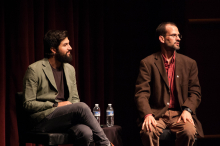 Zach Ingrasci and Bruce Whitehouse lead a discussion following the film screening of Salam Neighbor at Zoellner Arts Center - Lehigh University