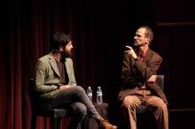 Zach Ingrasci and Bruce Whitehouse lead a discussion following the screening of Ingrasci's film, Salam Neighbor, at Zoellner Arts Center - Lehigh University