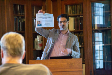 Andrew March lecturing to students in Linderman 200